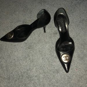 Chanel Black leather high heels size 7 1/2. Bronze